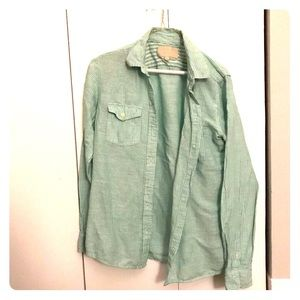 Summery green striped button up